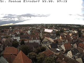 Blick vom St.-Rochus-Kirchturm mit dem Teleobjektiv