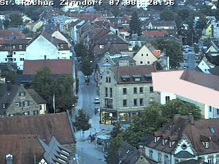 Weitwinkelblick vom St.-Rochus-Kirchturm