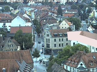 Blick Vom Kirchturm St. Rochus Richtung OSO-- vergrößern --links: Fernmeldturm-Nmitte: Heizkraftwerk Gebersdorf